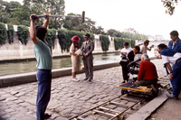 Joanne Woodward and Paul Newman filming Mr and Mrs Bridge Paris France