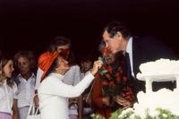 Rose Fitzgerald Kennedy and son Senator Edward Kennedy on her 92nd birthday Hyannisport MA